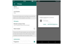 WhatsApp fingerprint auth